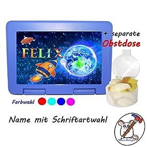 Kinder Brotdose mit Rakete Motiv und Name/Lunchbox für Kinder mit Name/Raumschiff/Farbwahl Brotbox + Schriftwahl für Name