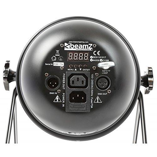Beamz LED PAR 64 Can PAR-Strahler Disco Strahler LED-Lichteffekt Effektstrahler (36x 1W RGB-LEDs, 6 DMX-Kanäle, für Wand und Decke, Alu) schwarz