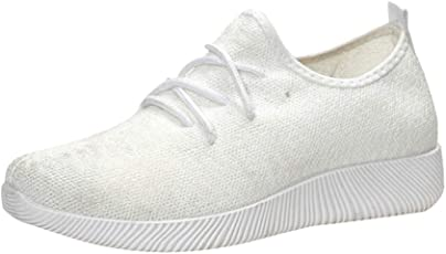 Fuibo Damen Sneakers Bequeme Laufschuhe Sportschuhe Turnschuhe Breathable Shallow Mouth Schuhe Flying Woven Candy Farbe Student Net Schuh