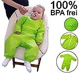 Mind Care Essentials Ganzkörper-Lätzchen Baby-Lätzchen mit Armen und Beinen zum Start der Beikost für Mädchen Jungen Kleinkind Kinder-lätzchen Ärmel-lätzchen Malschürze Geschenk zur Geburt GRÜN