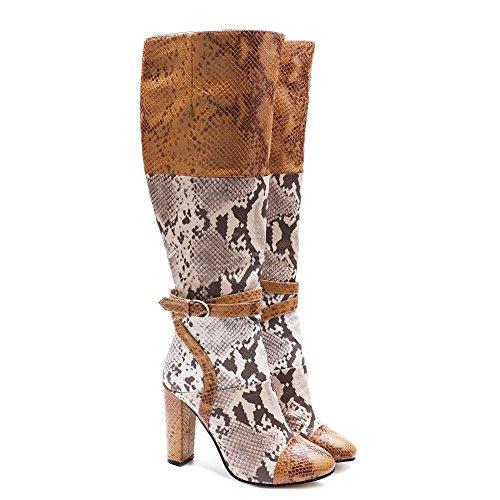 L@YC Femmes Bottes PU Zipper Similicuir automne Hiver Bottes Déquitation Talon Stiletto Plate-Forme Toe Genou Bottes Pour Fête A