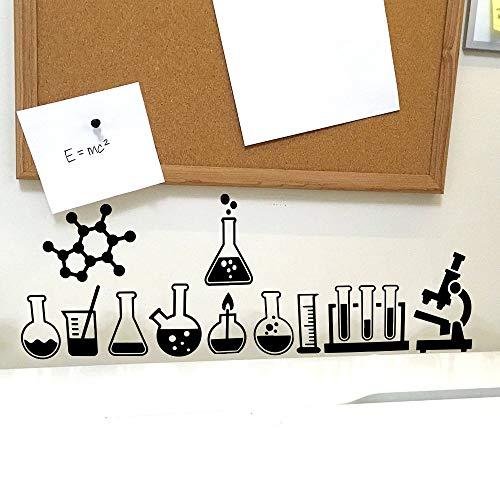 XCSJX Science Lab Geek Tatuajes de pared Laboratorio de clase Átomo Ciencia  Química Ateo Etiqueta de la pared Laboratorio de la escuela Vinilo