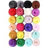 SOLEDI Märchenwolle Filzwolle geeignet für Nassfilzen und Trockenfilzen(5g X 24 Farben )