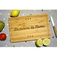 Planche à découper personnalisée en bois (bambou), gravée avec votre texte. Cadeau personnalisable. Forme rectangulaire.
