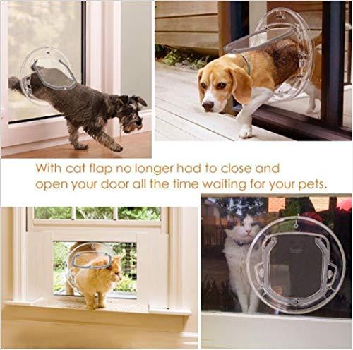 Zll Hundeklappe Haustier Tür Große 4 Wege Sperren Klassische Katze Flap Microchip Haustür Einfach Installieren Transparente Haustier Tür Tunnel Extender für alle Haustiere,M -