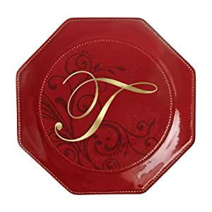 Grasslands Road toile 8-1/2-Inch Red Octaganol Monogram Initial T Accent Plate