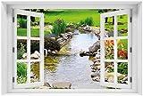 Wallario Acrylglasbild mit Fenster-Illusion: Motiv Blumen am Teich - 60 x 90 cm mit Fensterrahmen in Premium-Qualität: Brillante Farben, freischwebende Optik