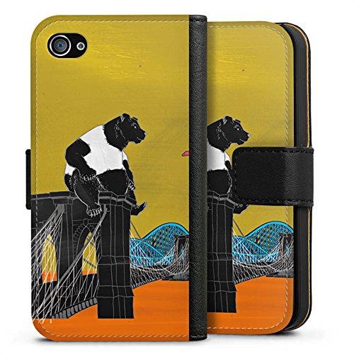 Apple iPhone X Silikon Hülle Case Schutzhülle Bär Panda Brücke Sideflip Tasche schwarz