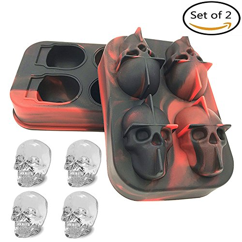 3D Schädel-Form Eis-Würfel-Form, kreative Silikon-Süßigkeit Schokoladen-Form-Hersteller für Halloween-WeihnachtsParty-Bar - Halloween-süßigkeiten Formen