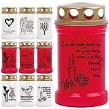 Grablicht Grabkerze Öllicht mit Spruch und Bild - 9 Motive - Tagebrenner Ersatzkerze Auswahl: rot mit Kerze