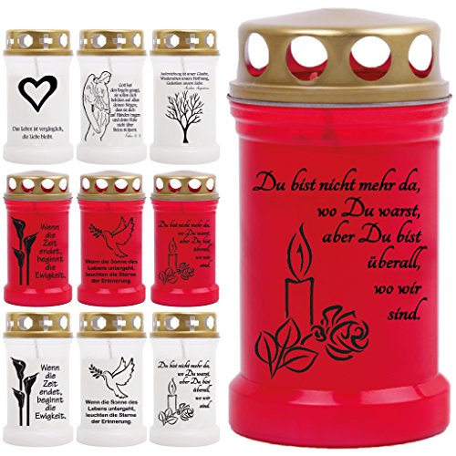 Grablicht Grabkerze Öllicht mit Spruch und Bild - 9 Motive - Tagebrenner Ersatzkerze Auswahl: rot mit Kerze (Licht Bis Jesus Bild)