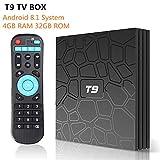YWJ Android 8.1 TV Box, T9 Android Box 4GB RAM 32GB ROM RK3328 Bluetooth 4.1 Quad Core 64bits Smart TV Box, Soporte 4K Full HD 2.4GHz Wi-Fi BT 4.1 USB 3.0 H.265 Smart TV Box