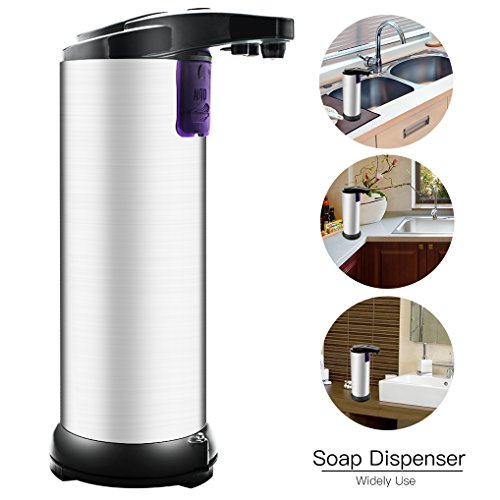 Dispensador de jabón automático,Wanxida Dispensador de jabón Touchless de acero inoxidable Sensor de movimiento infrarrojo IR Detergente de mano libre para cocina y baño, Base impermeable