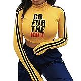"""Manadlian Damen T-Shirt Frau Lange Ärmel Brief""""GO for The""""Drucken Beiläufig Rollkragen Bluse Oberteile zur Seite Fahren Hemd"""