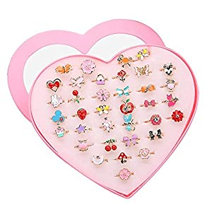 Outtybrave Kinder Ring Lucy Set mit 36 Stück, Lucy Herz, für Kinder, niedliches Spielzeug, schöne Legierung, Mini-Ring