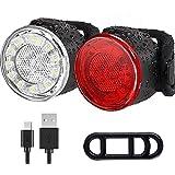 Luces Bicicleta, Impermeable LED Luz Bicicleta, Luces Delanteras y Traseras Recargables USB Para Bicicleta, 6 Iluminación Mod