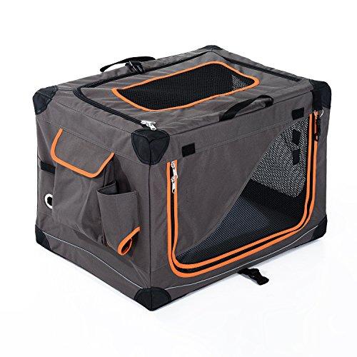 PawHut Faltbare Hundebox Transportbox Hundetransportbox Hundetasche Katzenbox Hunde Box (L91xW61xH58cm, grau)
