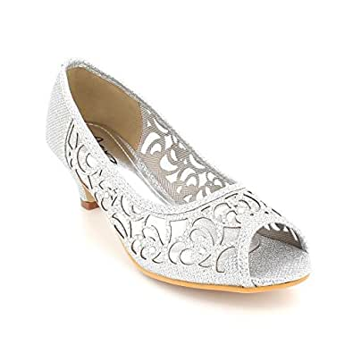 bf0e5e521ff44 AARZ LONDON Women Ladies Evening Party Wedding Peeptoe Diamante Low Kitten Heel  Silver Sandals Shoes Size