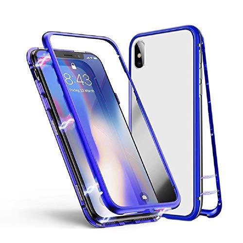 Huawei P20 Hülle, Jonwelsy Metallrahmen Magnetische Adsorption Handyhülle mit eingebautem Magnetklappdeckel, Ultra Dünn Gehärtetes Glas Transparente Back Cover für Huawei P20 (Blau) Back Cover Blende