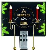 Baumkerzen kabellos - 6er Set LED Kerzen mit Fernbedienung und Metall Pendelhalter | Balancehalter Gold im Set mit Baumkerzen in rot