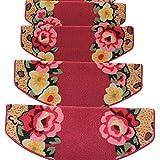 GUSJ.STAIR Rote Treppen Teppich Haushalt - 5 Stück - Rutschfeste Selbstklebende Teppiche Massivholz Treppenstufen Stufenmatten Teppiche, 3 Größen,65 * 24 * 3