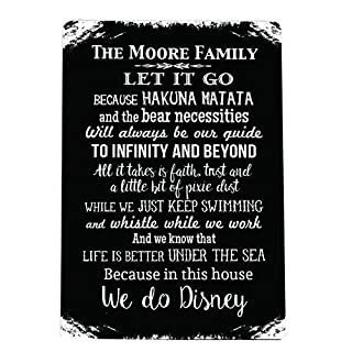 Artylicious Personalised In this House we do Disney A4 metal sign plaque wall art BLACK