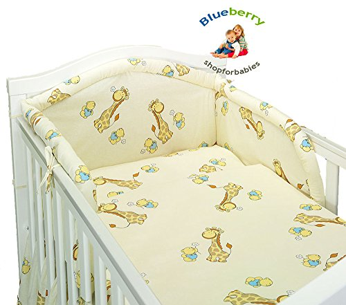 BlueberryShop Ensemble de literie 3 mcx pour lit bébé housse de couette +coussin +tour de lit 90 x 120 cm (35.5\\