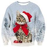 Loveternal Herren Weihnachten Tops Katze Sweatshirt 3D Xmas Jumper Printed Lustige Crewneck Pullover XL
