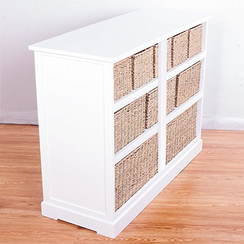 10 Drawer Baskets White Wide Functional Wooden Hyacinth