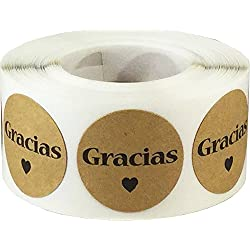 Marrón Kraft etiquetas adhesivas GRACIAS - 500 unidades