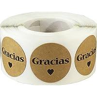 Marrón Kraft Circulo con Negro Gracias Pegatinas, 25 mm 1 Pulgada Redondo, 500 Etiquetas en un Rollo