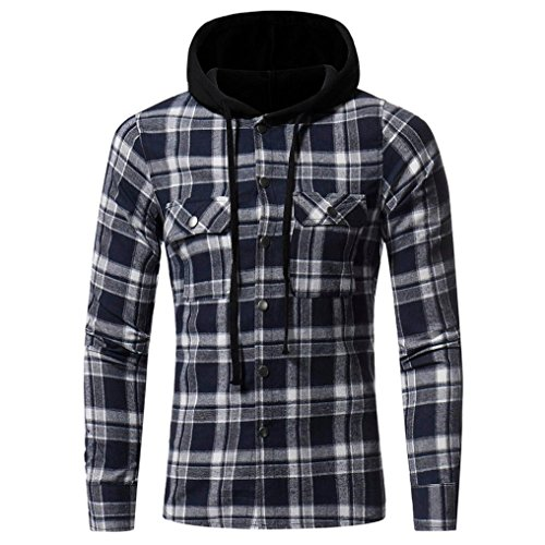 SEWORLD 2018 Herren Herbst Winter Hemd Slim Kariert Selbstkultivierung Langarmhemd mit Kapuze Shirt Oberteil Oktoberfest (Marine,EU-48/CN-XL)