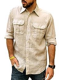 BaronHong Slim Fit para Hombre de 2 Botones Cuello Chino Manga Corta Camiseta de Lino Tops