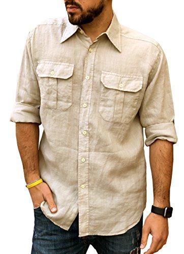 Camicia puro lino uomo casual doppio taschino (xxl, sabbia)