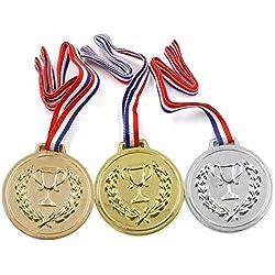 10 packs de medallas de plástico para premios en días deportivos en escuela, oro, plata, bronce, ganador