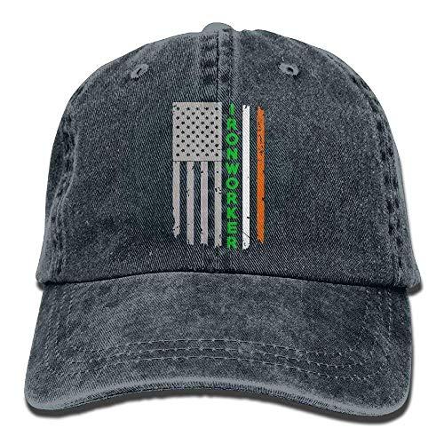 Sdltkhy Adjustable Yarn-Dyed Denim Baseball Ningunos Ironworker Irish  American Flag Ninguno New4 66c11487a939