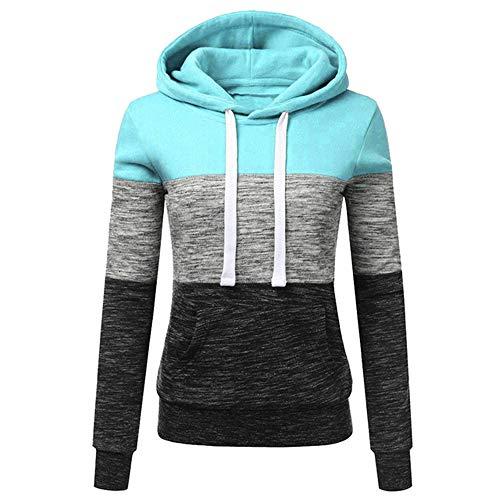 qulvyushangmaobu Damen Hoodies Langarm Pullover Colorblock High Neck Sweatshirt Pullover Sweater Mantel Tasche Damen Fuzzy Casual Loose Sweatshirt Fleece Hoodies mit Taschen