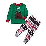 OverDose Damen Frohe Weihnachten Cartoon Bluse Hosen Familie Eltern-Kind-Pyjamas Nachtwäsche passende Weihnachten Home Party Soft Slim Set(Kind 3,6-7 Jahre)