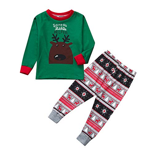 OverDose Damen Frohe Weihnachten Cartoon Bluse Hosen Familie Eltern-Kind-Pyjamas Nachtwäsche passende Weihnachten Home Party Soft Slim Set(Kind 3,5-6 ()