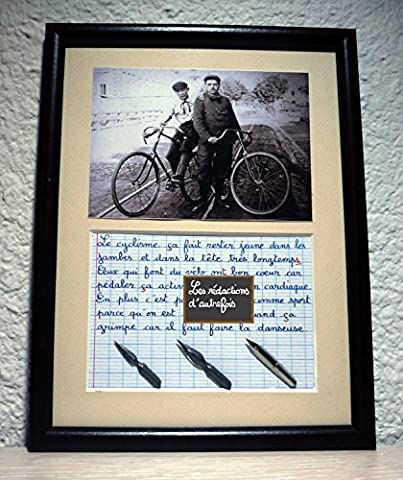 Tableau rétro humoristique avec photo ancienne et texte écrit à la plume sur le vélo ou le