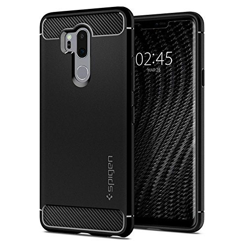 Spigen rugged armor, tpu design in fibra di carbonio originale cover lg g7 thinq - nero
