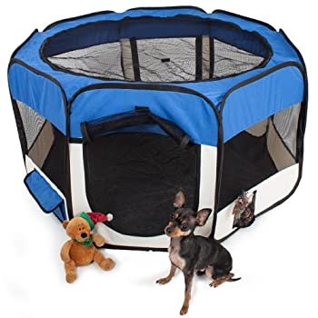 TecTake Parc à chiots chien chaton chat enclos pour chiens 115 x 115 x 64 cm (LxlxH) bleu