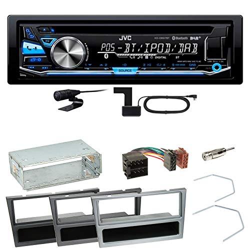 JVC KD-DB97BT Digitalradio Bluetooth Autoradio CD USB AUX MP3 DAB+ Einbauset für Opel Omega B Meriva A Agila Vivaro, Farbe der Radioblende:Schwarz