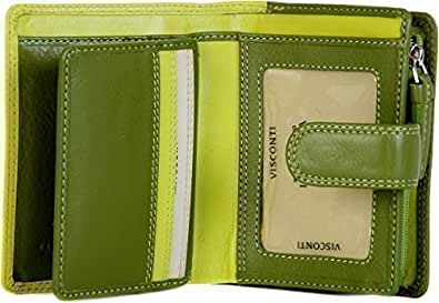VISCONTI LADIES SMALL LEATHER 9 CARD ZIP AROUND PURSE WALLET RB40 IN LIME MULTI