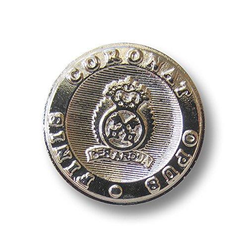 Knopfparadies - 8er Set elegante Metall Knöpfe mit Wappen, Krone & gekreuzten Schlüsseln sowie Inschrift