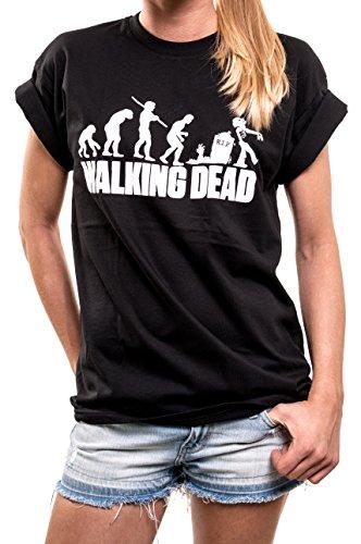 MAKAYA Oversize Shirt Damen Zombie Evolution schwarz - Walking Dead T-Shirt große Größen locker und lässig geschnitten XXXL (Dead The Walking Tshirt Carl)