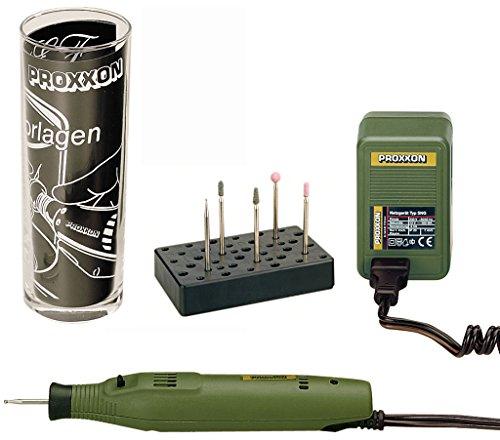 Proxxon Graviermaschine GG 12 Komplettset, leistungsstarkes Graviergerät mit Probierglas, Gravierset für Glas und Holz, grün, Art.-Nr. 28635 (230v Dc-motor)