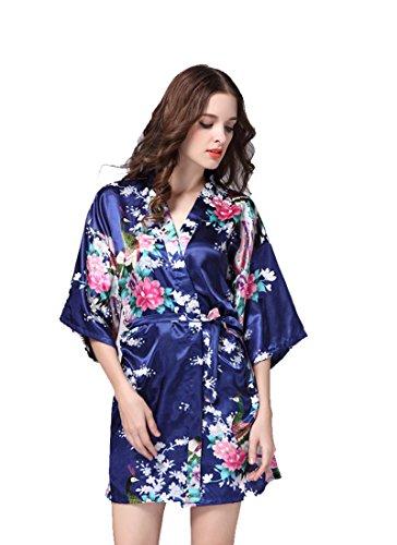 Sunbo Damen Bademantel Gr. M, dunkelblau (Sleepshirt Lace Blau Trim)