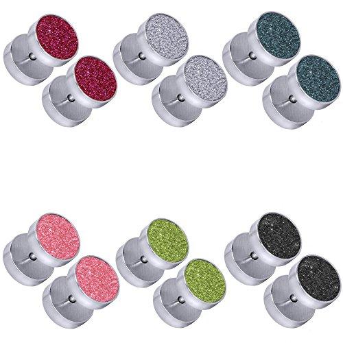 tumundo Set di 6 Pezzi / 1 Pezzo Plug Falso Finto Fake Piercing Estensore Orecchini Orecchio Gioielli Glitter Acciaio, couleur:silbern - Alle Farben / silver - all colors