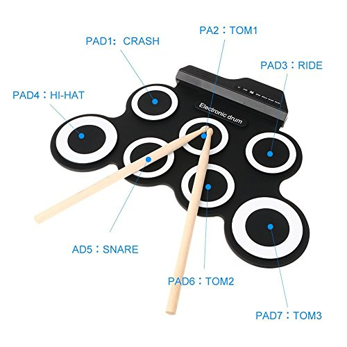 Electronic Drum,Hizek 7 Pad Portable Roll up Drum Pad Kits Foldable Musical Entertainment Practice Instrument with 2 Foot Pedals and Drum Sticks for Beginners and Children(Battery Not Included)